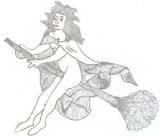 Frau mit Umhang auf einem Besen reitend, Zeichnung nach einem Deckengemälde in Schleswiger Dom