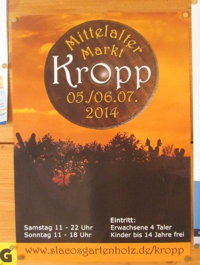 Plakat zur Bewerbung der Mittelaltermarkt-Veranstaltung in Kropp am ersten Juliwochendende.