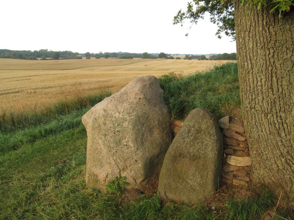 Blick über die Steine des Langbettes hinweg auf die staubiggelbe Weite abgemähter Getreidefelder.