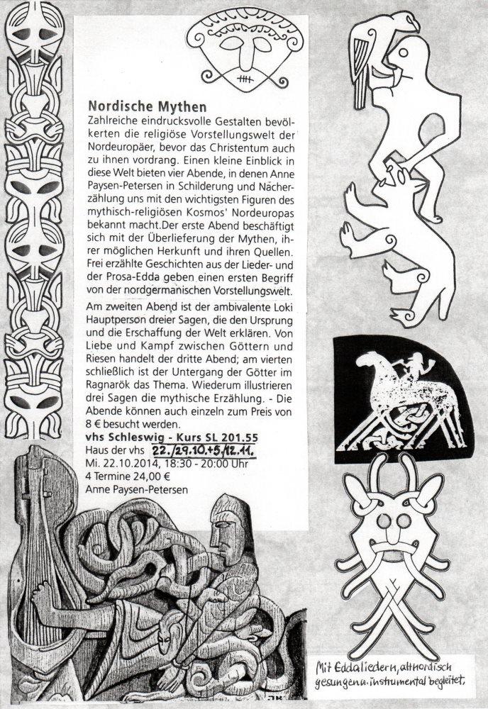 Plakat mit verschiedenen wikingerzeitlichen Darstellungen um den Text herum, der den Kurs mit vier Terminen zum Thema Nordische Mythen näher beschriebt.