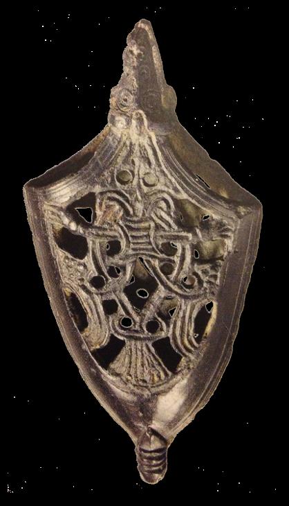Verzierung aus Metall für die Spitze einer Schwertscheide.