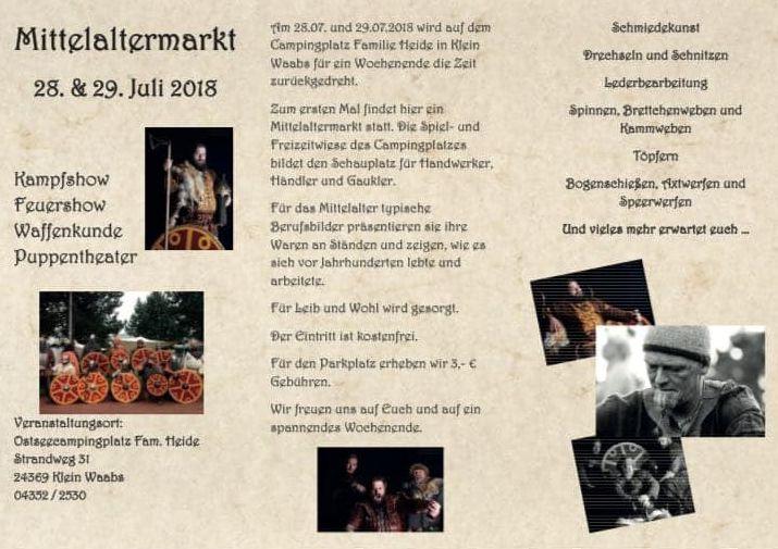 Plakat zur Bewerbung des Wikingermarktes in Waabs am 28. und 29.7.2018, nähere Infos unter Tel. 04352 2530