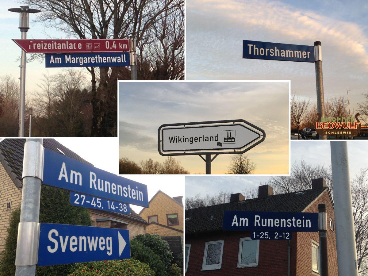 Fotozusammenstellung von 5 Straßennamensschildern mit Wikingerbezug: Gewerbegebiet Wikingerland, Am Runenstein, Svenweg, Am Margarethenwall, Thorshammer