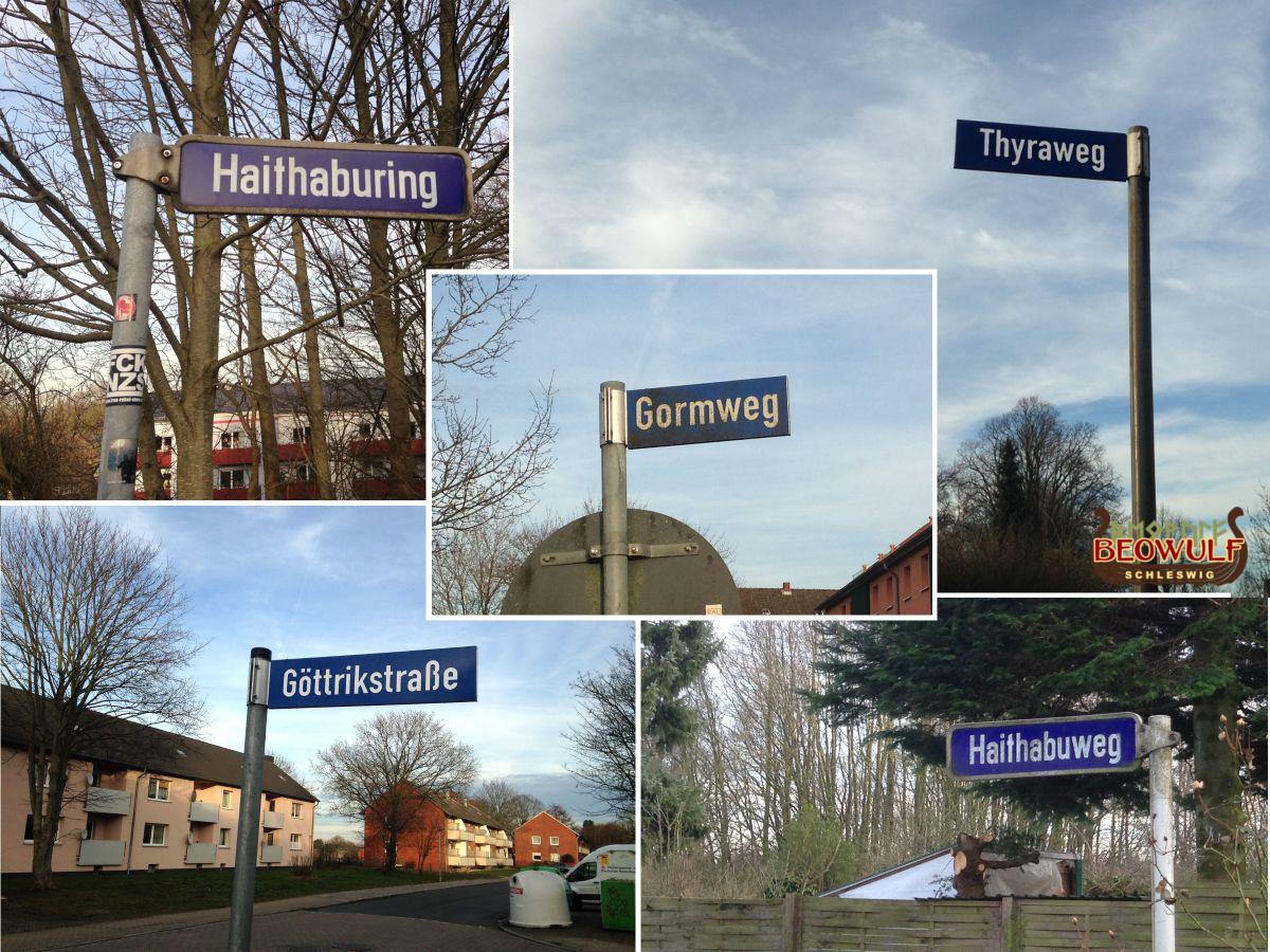 Fotozusammenstellung von 5 Straßennamensschildern mit Wikingerbezug: Haithaburing, Gormweg, Göttrikstraße, Thyraweg, Haithabuweg