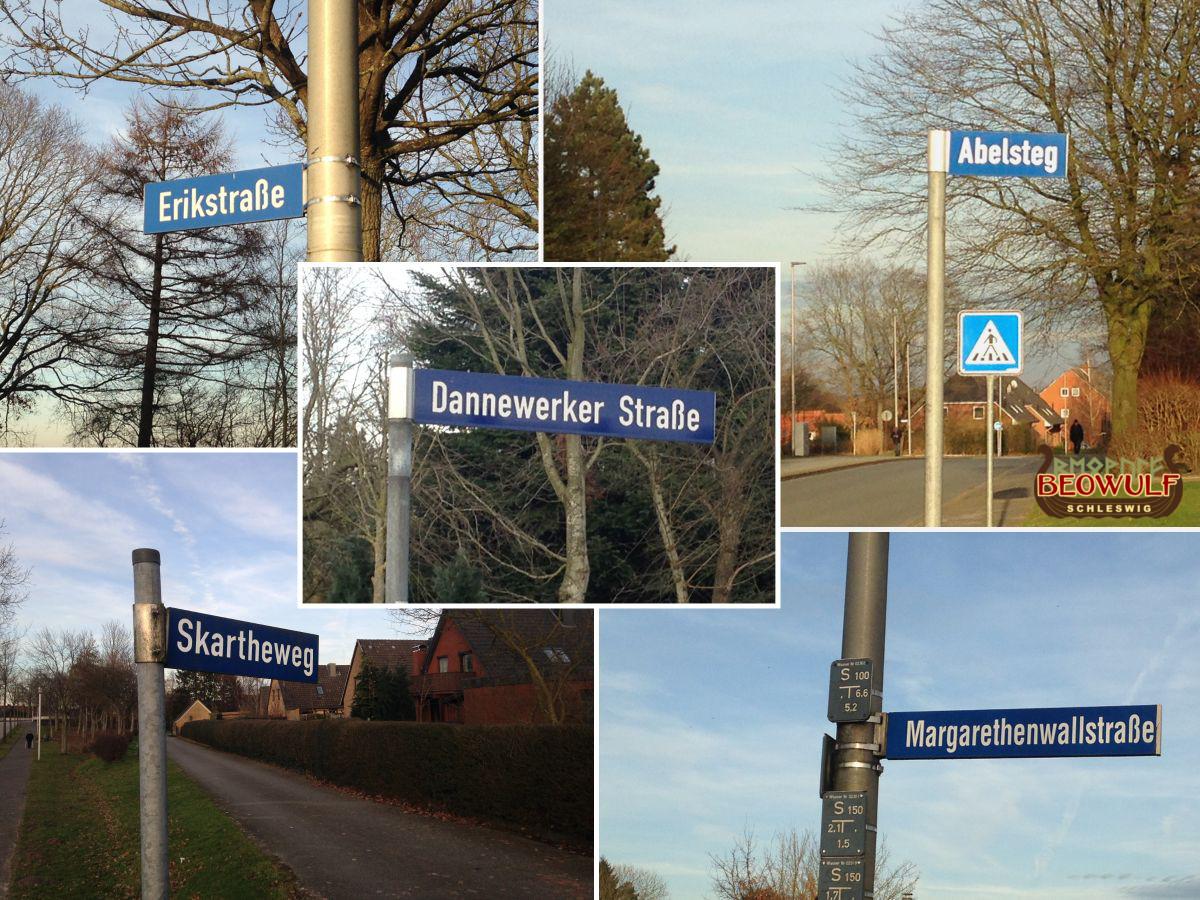 Fotozusammenstellung von 5 Straßennamensschildern mit Wikingerbezug: Erikstraße, Skartheweg, Dannewerker Straße, Abelsteg, Margaretenwallstraße
