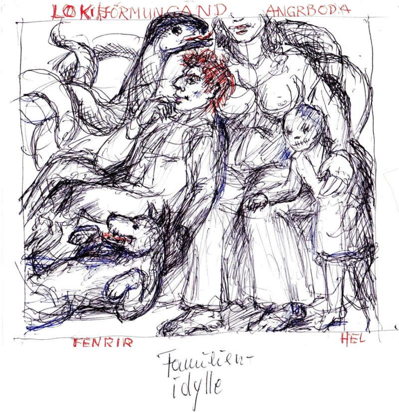 Eine schwarz-weiße Zeichnung, sparsam mit rot versehen, zeigt Loki im Kreise seiner Familie.